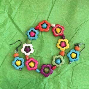Howlite Multi-colored Daisy Hippie Bracelet BoHo
